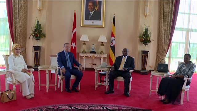 turkish president recep tayyip erdogan and his wife emine erdogan meet with ugandan president yoweri museveni and his wife janet museveni at state... - kampala stock videos & royalty-free footage