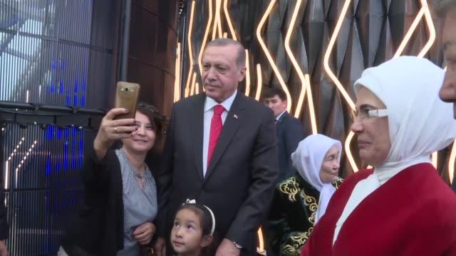 Turkish President Recep Tayyip Erdogan and his wife Emine Erdogan visit the Future Energy Forum within Astana EXPO2017 in Astana Kazakhstan on...