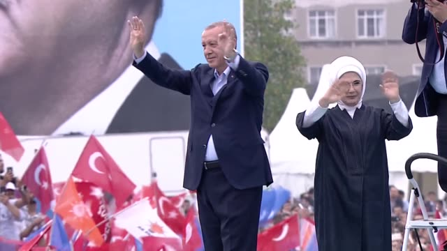 turkish president recep tayyip erdogan and his wife emine erdogan attend the ruling justice and development party's mega rally at the yenikapi square... - istanbul stock videos & royalty-free footage