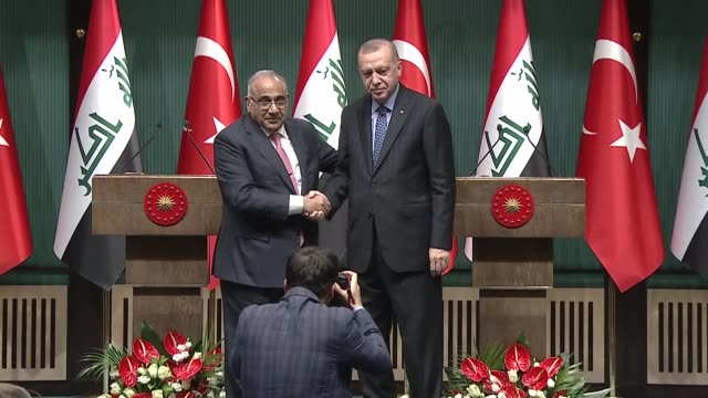 Turkish President Recep Tayyip Erdogan and Iraqi Prime Minister Adil AbdulMahdi hold a joint press conference following their meeting at the...