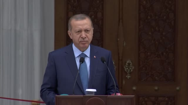 Turkish President Recep Tayyip Erdogan and Kyrgyz President Sooronbay Jeenbekov attend the inauguration ceremony of the Central Imam Serahsi Mosque...