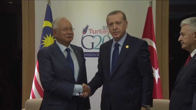 turkish president recep tayyip erdogan and malaysian prime minister najib razak hold a bilateral meeting within the g20 turkey leaders summit on... - g20 leaders' summit stock videos & royalty-free footage