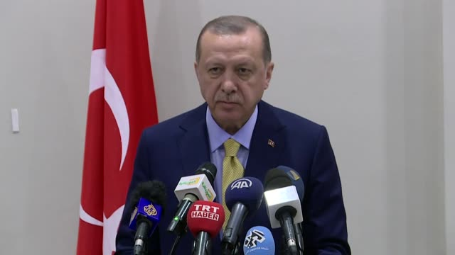 turkish president recep tayyip erdogan and mauritanian president mohammad veled abdulaziz hold a joint press conference at presidential palace in... - ヌアクショット点の映像素材/bロール