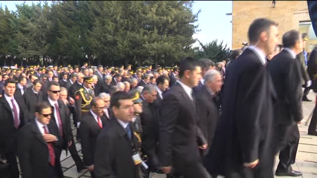 turkish president recep tayyip erdogan and prime minister ahmet davutoglu visit the anitkabir, the mausoleum of the founder of turkish republic... - place concerning death stock videos & royalty-free footage