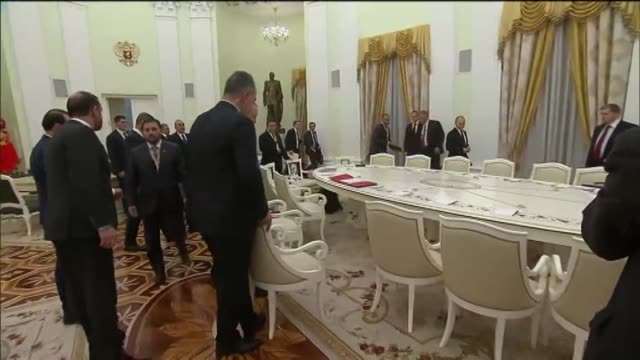 turkish president recep tayyip erdogan and russian president vladimir putin chair an interdelegation meeting at kremlin palace in moscow russia on... - vladimir russia stock videos and b-roll footage