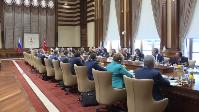 Turkish President Recep Tayyip Erdogan and Russian President Vladimir Putin speak during the TurkeyRussia HighLevel Cooperation Council Meeting at...