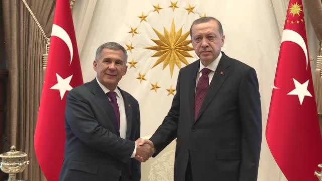 Turkish President Recep Tayyip Erdogan and Rustam Minnikhanov the President of Tatarstan in the Russian Federation hold a meeting a the presidential...