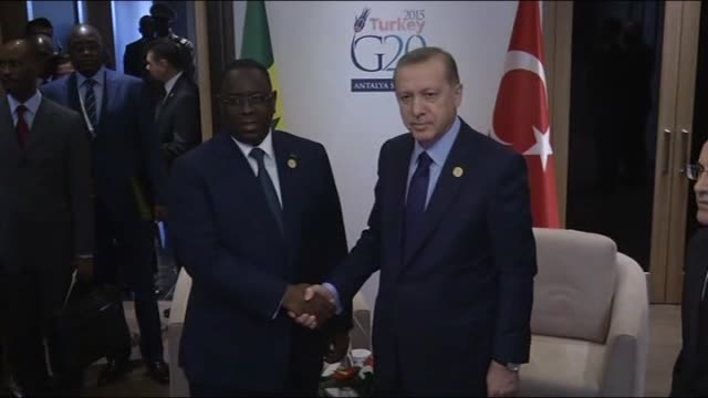 turkish president recep tayyip erdogan and senegalese president macky sall hold a bilateral meeting within the g20 turkey leaders summit on november... - g20 leaders' summit stock videos & royalty-free footage