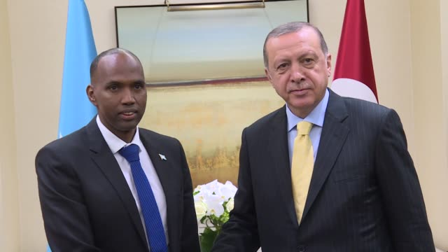 Turkish President Recep Tayyip Erdogan and Somalia's Prime Minister Hassan Ali Khayre hold a meeting on the sidelines of the 72nd United Nations...