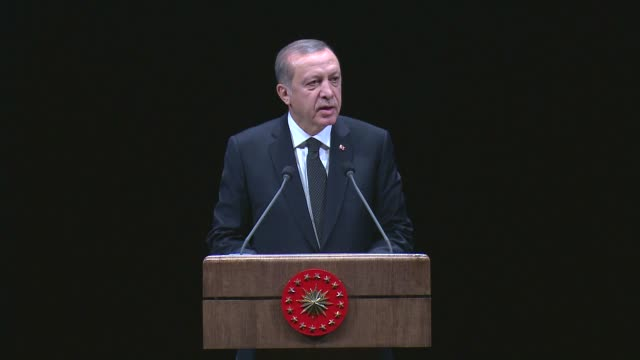 turkish president recep tayyip erdogan and turkish prime minister binali yildirim attend a ceremony, organized by the ataturk high council of... - place concerning death stock videos & royalty-free footage