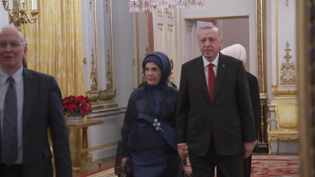 turkish president recep tayyip erdogan and wife emine at buckingham palace reception during nato summit - home interior stock videos & royalty-free footage