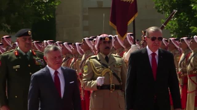 Turkish President Recep Tayyip Erdogan arrived to the royal palace in Amman for talks with Jordan King Abdullah II