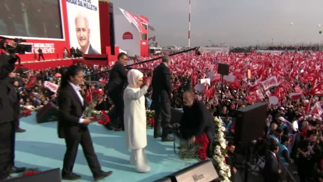 Turkish President Recep Tayyip Erdogan at a rally in Istanbul