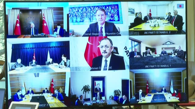 turkish president recep tayyip erdogan attends a central executive board meeting of his ruling justice and development party via videoconferencing on... - web conference stock videos & royalty-free footage