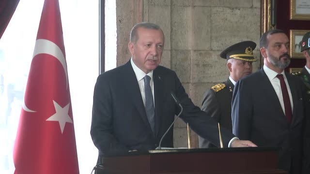 turkish president recep tayyip erdogan attends a ceremony at anitkabir the mausoleum of turkish republic's founder mustafa kemal ataturk to mark the... - mausoleum stock videos and b-roll footage
