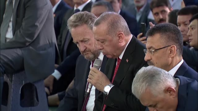 turkish president recep tayyip erdogan attends a commemoration ceremony and recites verses from the quran for the martyrs of july 15 defeated coup on... - democracy stock videos & royalty-free footage