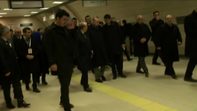 Turkish President Recep Tayyip Erdogan attends a mass opening ceremony held by Pendik Municipality at Tavsandere Metro Station in Istanbul Turkey on...
