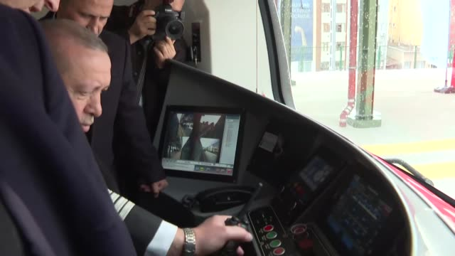 turkish president recep tayyip erdogan attends inauguration ceremony of gebze-halkali commuter train line in istanbul on march 12, 2019. the commuter... - istanbul province stock videos & royalty-free footage
