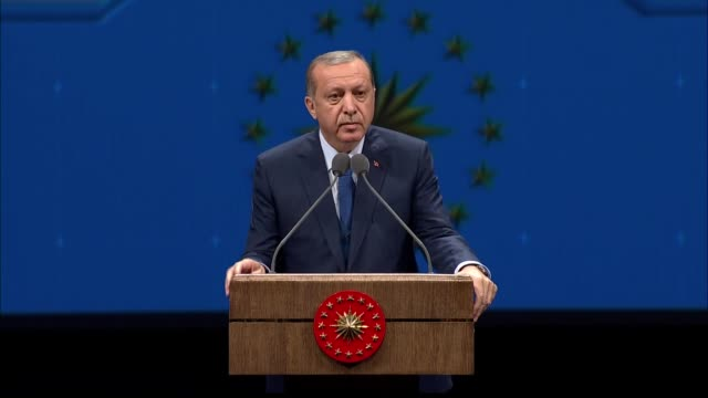 Turkish President Recep Tayyip Erdogan attends the 8th International Turkish Language Council at Bestepe National Congress and Culture Center in...