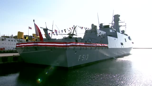 turkish president recep tayyip erdogan attends the delivery ceremony of third ship of milgem turkey's first indigenous warship program to turkish... - warship stock videos & royalty-free footage