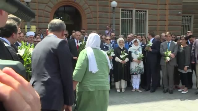 turkish president recep tayyip erdogan attends the procession to commemorate victims of srebrenica genocide in front of presidential council building... - srebrenica stock videos and b-roll footage