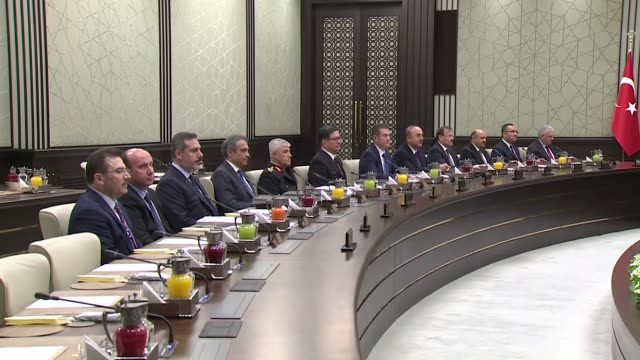 Turkish President Recep Tayyip Erdogan chairs a meeting of National Security Council at the Presidential Complex in Ankara Turkey on November 28 2017