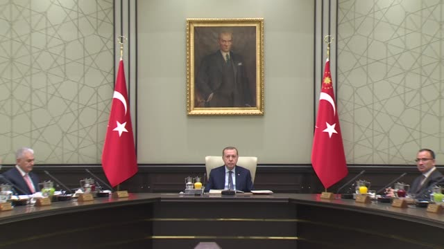 Turkish President Recep Tayyip Erdogan chairs Cabinet meeting at the presidential complex in Ankara Turkey on January 08 2018 Turkish Prime Minister...