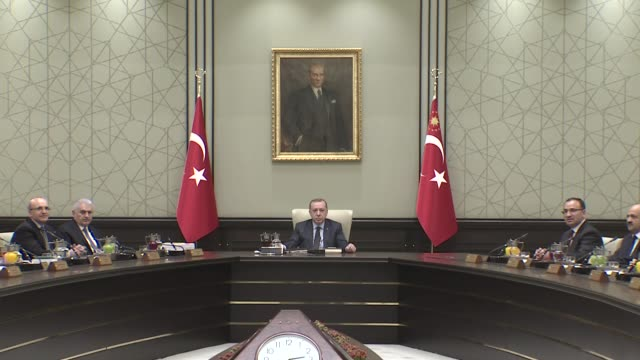 Turkish President Recep Tayyip Erdogan chairs Cabinet meeting at the presidential complex in Ankara Turkey on February 19 2018 Turkish Prime Minister...