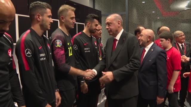 turkish president recep tayyip erdogan congratulates turkish national football team's head coach senol gunes and his players following the uefa euro... - senol guenes stock videos and b-roll footage