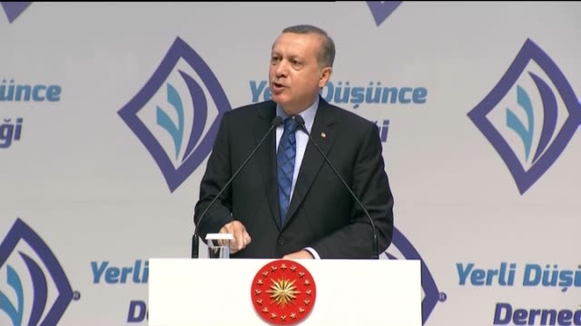 stockvideo's en b-roll-footage met turkish president recep tayyip erdogan delivers a speech an event titled national will in turkish political history at ato congresium center in... - videoato