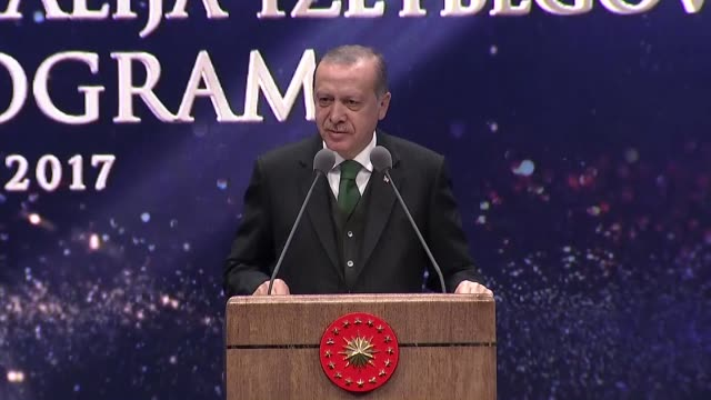 turkish president recep tayyip erdogan delivers a speech during an event to commemorate alija izetbegovic, founding president of modern bosnia who... - western european culture stock videos & royalty-free footage