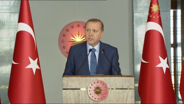 turkish president recep tayyip erdogan delivers a speech during women's day reception at the presidential complex in capital ankara turkey on march... - internationaler frauentag stock-videos und b-roll-filmmaterial