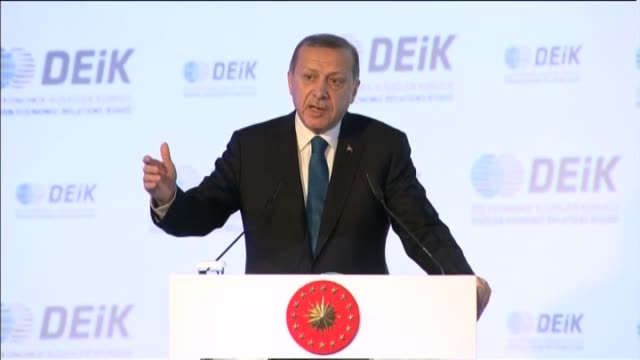 turkish president recep tayyip erdogan delivers a speech during general assembly of the foreign economic relations board of turkey in istanbul on... - 2016 stock videos & royalty-free footage
