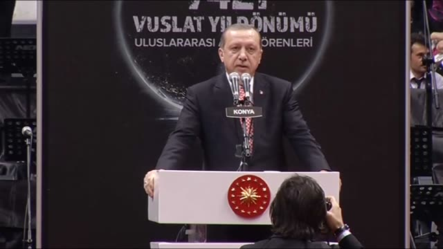 turkish president recep tayyip erdogan delivers a speech during the sebi arus ceremony at konya metropolitan municipality sports and congress center... - konya stock videos and b-roll footage