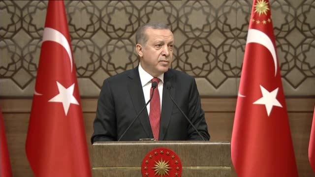 Turkish President Recep Tayyip Erdogan delivers a speech during the 34th meeting of local administrators at the presidential complex in Ankara Turkey...