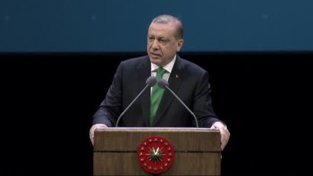 Turkish President Recep Tayyip Erdogan delivers a speech during the 4th International Symposium on Ombudsman Institutions at Bestepe People's...