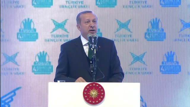 Turkish President Recep Tayyip Erdogan delivers a speech during youth 4th Youth Meeting organized by Turkey Youth Foundation at Abdi Ipekci Arena in...