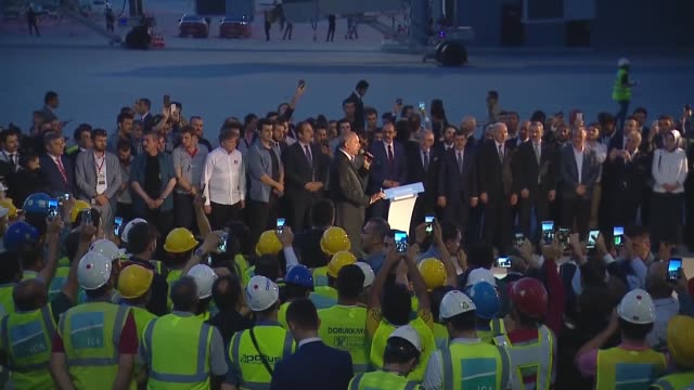 Turkish President Recep Tayyip Erdogan delivers a speech upon his arrival at Istanbul's new colossal airport on June 21 2018 Erdogan's aircraft on...