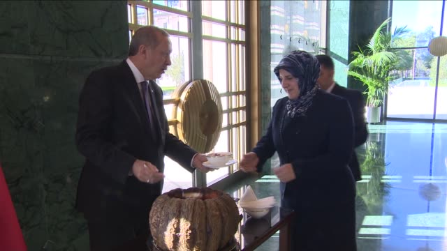 turkish president recep tayyip erdogan distributes ashure, a turkish dessert served during the first month of the islamic calendar, muharram, on the... - palace stock-videos und b-roll-filmmaterial