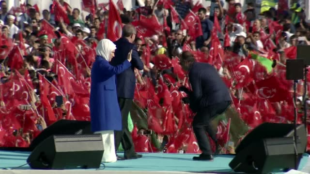 Turkish President Recep Tayyip Erdogan during the celebrations of the 563rd anniversary of Istanbul's conquest by Turks at Yenikapi Event Area in...