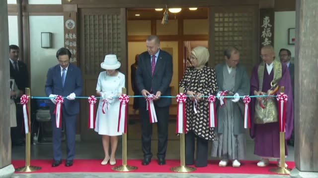 turkish president recep tayyip erdogan first lady emine erdogan and japanese princess akiko of mikasa open a photo exhibition featuring the works of... - chan buddhism stock videos & royalty-free footage