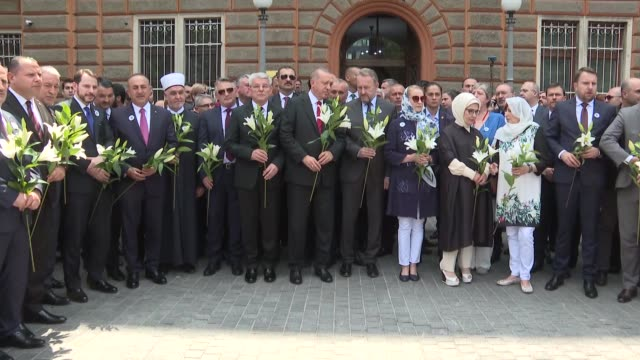 Turkish President Recep Tayyip Erdogan first lady Emine Erdogan Bosniak Member of the Presidency of Bosnia and Herzegovina Sefik Dzaferovic House of...