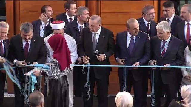 turkish president recep tayyip erdogan foreign minister mevlut cavusoglu head of turkey's religious affairs directorate ali erbas national defense... - moschea video stock e b–roll