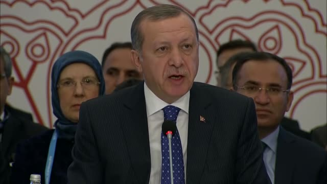 vídeos de stock, filmes e b-roll de turkish president recep tayyip erdogan gives a speech at the opening session of the highlevel partnership forum focusing on progress in somalia on... - número 6