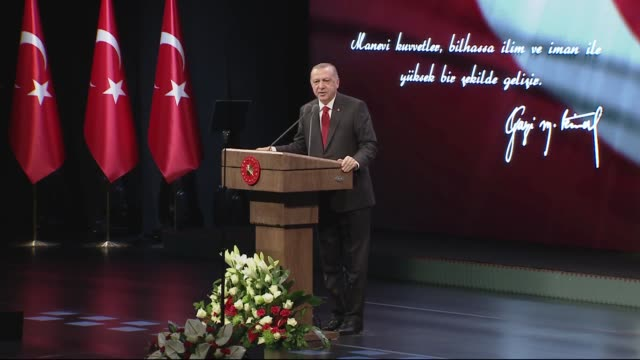 turkish president recep tayyip erdogan gives a speech during a ceremony at bestepe national congress and culture center marking the 81st death... - anno 1938 video stock e b–roll