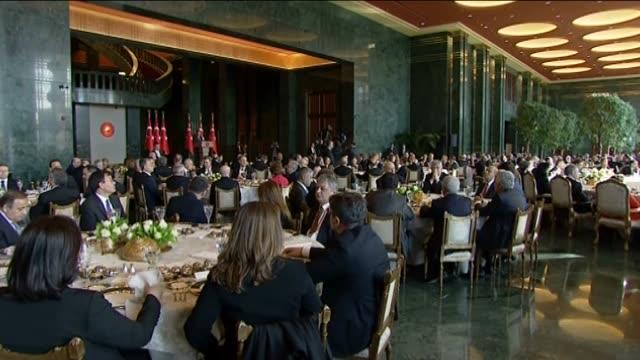turkish president recep tayyip erdogan gives a speech during the annual meeting of turkish ambassadors in ankara, turkey on january 12, 2016. erdogan... - 年次総会点の映像素材/bロール