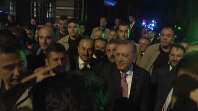 turkish president recep tayyip erdogan greets the people who gathered at the presidential complex to protest the july 15 failed military coup... - july stock videos & royalty-free footage