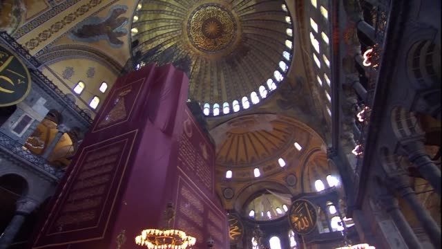 turkish president recep tayyip erdogan has arrived in hagia sophia ahead of historic building's reopening for worship for the first time in 86 years... - istanbul province stock videos & royalty-free footage