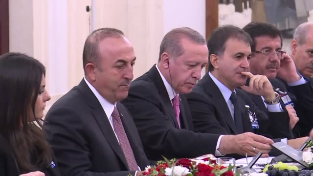 Turkish President Recep Tayyip Erdogan his Polish counterpart Andrzej Duda and their accompanying delegations hold a meeting at presidential palace...
