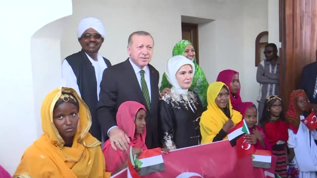 Turkish President Recep Tayyip Erdogan his wife Emine Erdogan and Sudanese President Omar AlBashir visit former Ottoman port city Suakin in eastern...